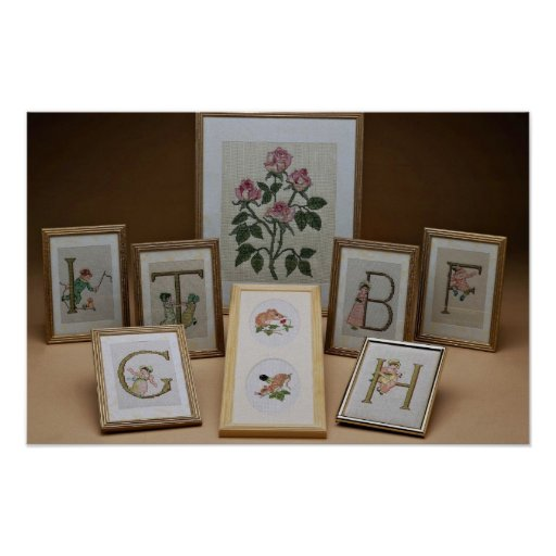 Inspiring Embroidered initials in frames Print