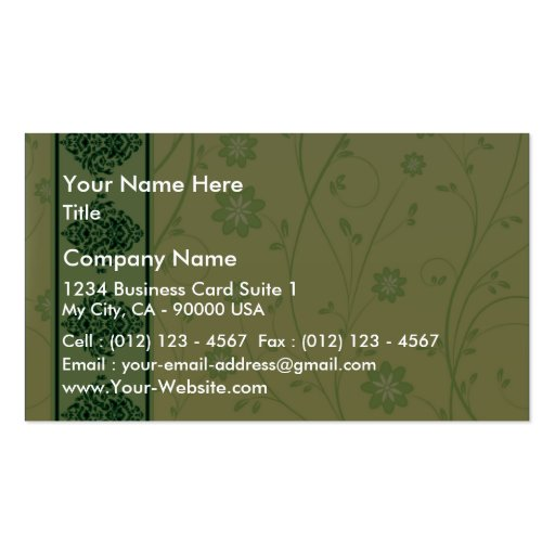 Inspiring greenish blossom on yellow texture business cards