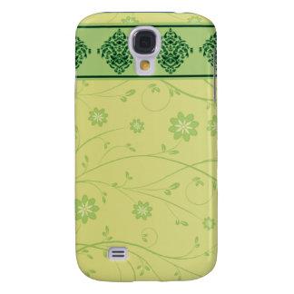 Inspiring greenish blossom on yellow texture samsung galaxy s4 cover