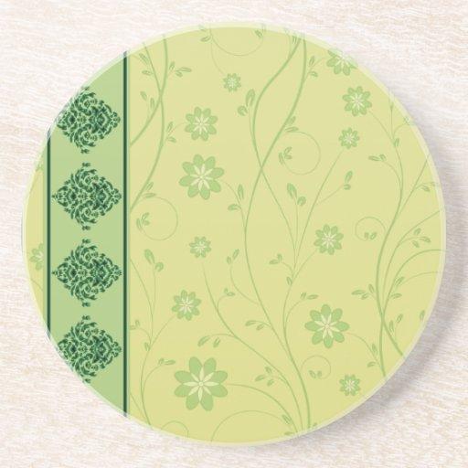 Inspiring greenish blossom on yellow texture drink coaster