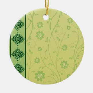 Inspiring greenish blossom on yellow texture christmas tree ornaments