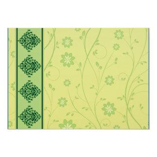 Inspiring greenish blossom on yellow texture personalized invitation