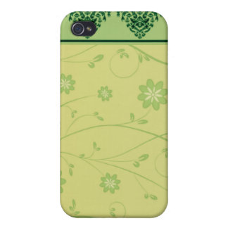 Inspiring greenish blossom on yellow texture iPhone 4/4S case