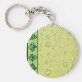 Inspiring greenish blossom on yellow texture key chain