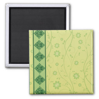 Inspiring greenish blossom on yellow texture magnet