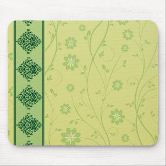 Inspiring greenish blossom on yellow texture mousepads