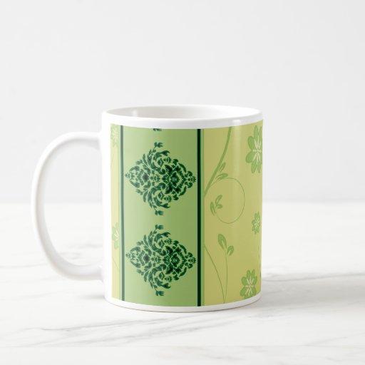 Inspiring greenish blossom on yellow texture coffee mug
