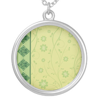 Inspiring greenish blossom on yellow texture personalized necklace