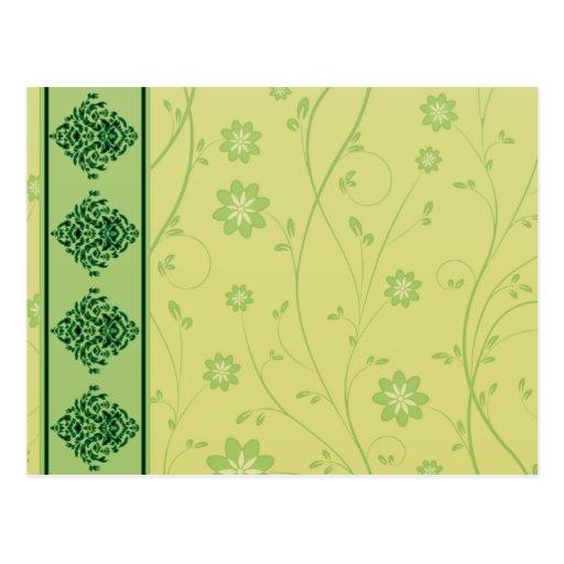 Inspiring greenish blossom on yellow texture postcard