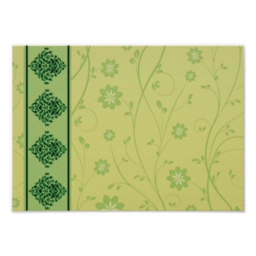 Inspiring greenish blossom on yellow texture posters