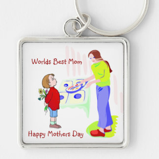 Inspiring Happy Mother's Day + Worlds Best Mom Silver-Colored Square Key Ring
