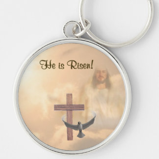Inspiring He is Risen!  Key Ring Silver-Colored Round Key Ring