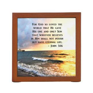 INSPIRING JOHN 3:16 OCEAN PHOTO DESIGN DESK ORGANISER