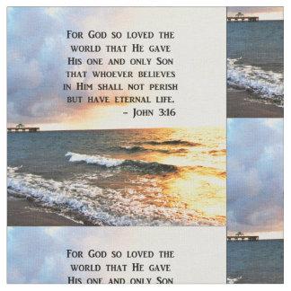 INSPIRING JOHN 3:16 OCEAN PHOTO DESIGN FABRIC