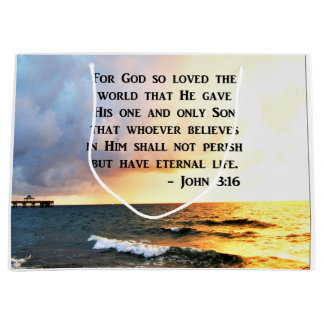 INSPIRING JOHN 3:16 OCEAN PHOTO DESIGN LARGE GIFT BAG