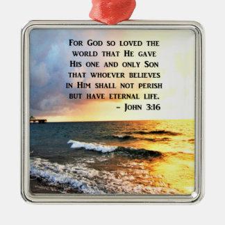 INSPIRING JOHN 3:16 OCEAN PHOTO DESIGN METAL ORNAMENT