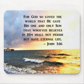 INSPIRING JOHN 3:16 OCEAN PHOTO DESIGN MOUSE PAD