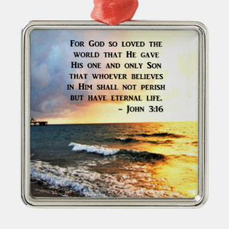 INSPIRING JOHN 3:16 OCEAN PHOTO DESIGN Silver-Colored SQUARE DECORATION