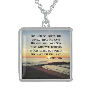 INSPIRING JOHN 3:16 SUNRISE PHOTO DESIGN STERLING SILVER NECKLACE
