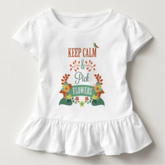 Inspiring Keep Calm and Pick Flowers Ruffle Tee