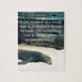 Inspiring Life quote beach theme Jigsaw Puzzle
