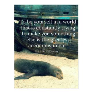 Inspiring Life quote beach theme Postcard