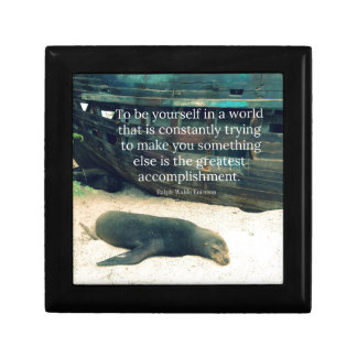 Inspiring Life quote beach theme Small Square Gift Box
