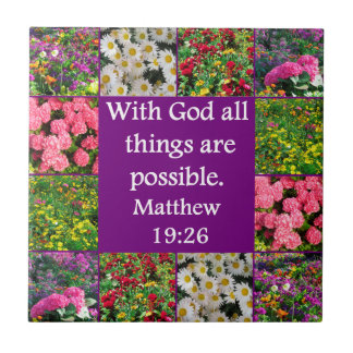 INSPIRING MATTHEW 19:26 FLORAL DESIGN SMALL SQUARE TILE