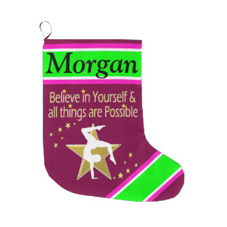 INSPIRING PERSONALIZED GYMNAST CHRISTMAS STOCKING