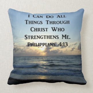 INSPIRING PHILIPPIANS 4:13 BIBLE VERSE CUSHION