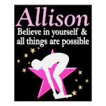 INSPIRING PINK PERSONALIZED GIRL SWIMMER POSTER
