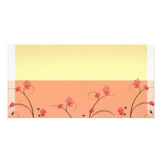 Inspiring reddish blossom and grey swirls personalized photo card