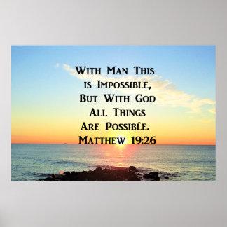 INSPIRING SUNRISE MATTHEW 19:26 DESIGN POSTER