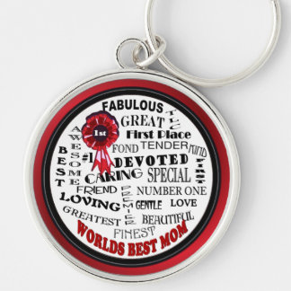Inspiring Word Collage Worlds Best Mom Key Ring Silver-Colored Round Key Ring