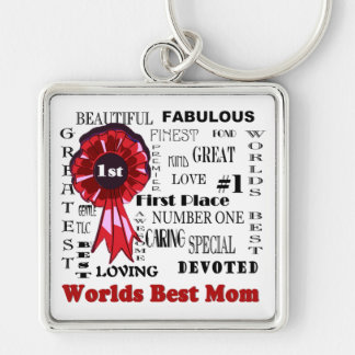 Inspiring Word Collage Worlds Best Mom Key Ring Silver-Colored Square Key Ring