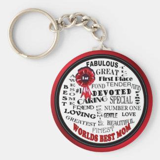 Inspiring Word Collage Worlds Best Mom Key Ring Basic Round Button Key Ring