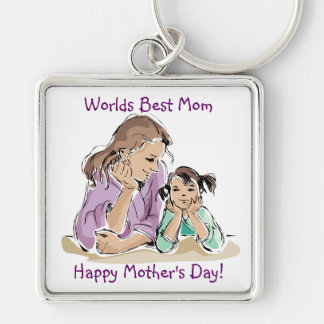 Inspiring Worlds Best Mom - Happy Mother's Day Silver-Colored Square Key Ring