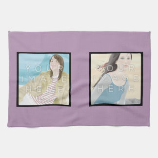 Instagram 2-Photo Custom Violet Kitchen Towel