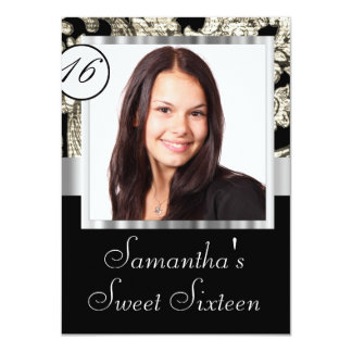 Instagram and damask sweet sixteen 11 cm x 16 cm invitation card