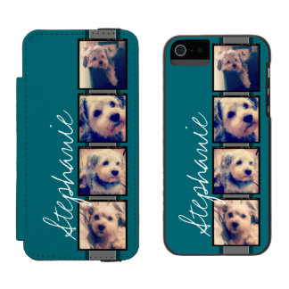 Instagram Collage - 4 photos blue background Incipio Watson™ iPhone 5 Wallet Case