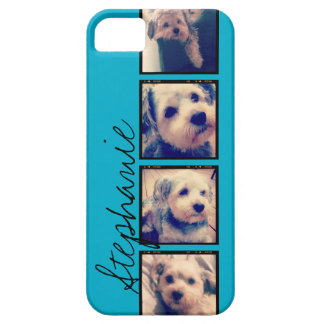Instagram Collage - 4 photos blue background iPhone 5 Cover