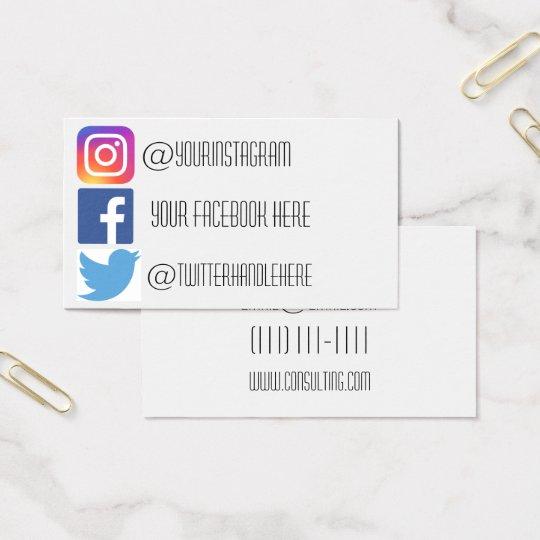 instagram facebook twitter business card  zazzleau