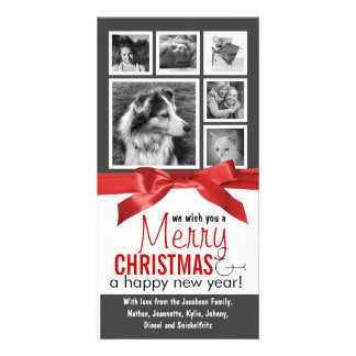 Instagram Family Photos Red Ribbon Christmas Custom Photo Card