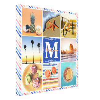 Instagram Favorite Summer Vacation Cool Photo Grid Canvas Print