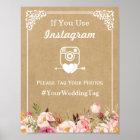 Instagram Hashtag Wedding Sign | Floral Kraft