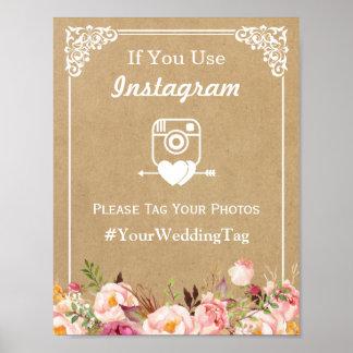 Instagram Hashtag Wedding Sign   Floral Kraft
