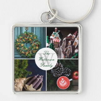 Instagram Hygge Christmas Personalized Photo Grid Key Ring