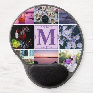 Instagram Hygge Spring Monogram Purple Photo Grid Gel Mouse Pad
