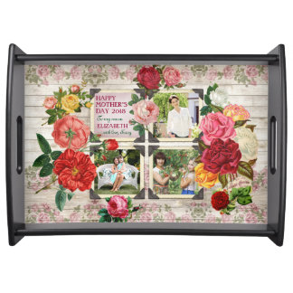 Instagram Mother's Day Roses Vintage Photo Frame Serving Tray