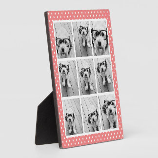 Instagram Photo Collage and Sweet Coral Polka Dots Plaque